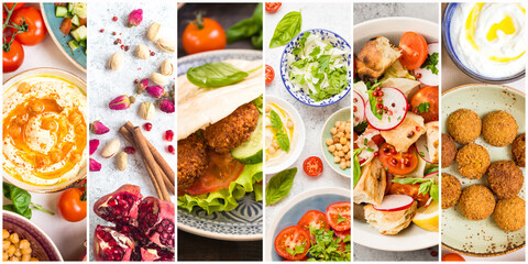 Collage of different Middle Eastern food set. Assortment of various Arab traditional dishes and products as falafel, pita, hummus on white light background. Concept banner or template .