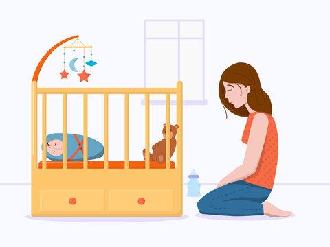 Vector illustration: postpartum depression concept. Postnatal depression. Tired, sad young woman sitting on floor near bad with sleeping baby.