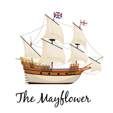 The Mayflower ship. Piligrim ship. Cartoon vector illustration for Thanksgiving day holiday.