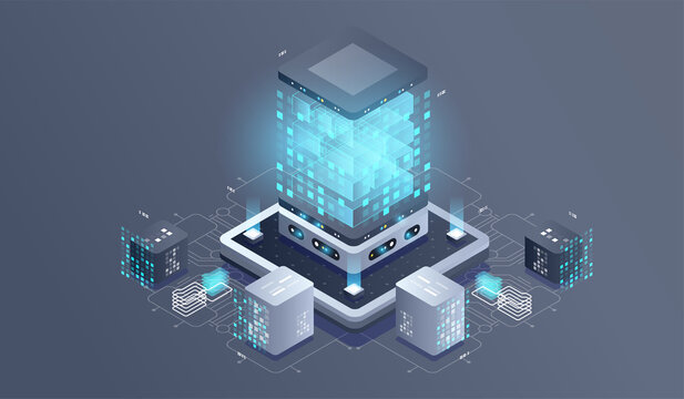 Technology isometric infographic design for quantum computer. Blockchain server concept, server room, database, information storage. Creative isometric concept.
