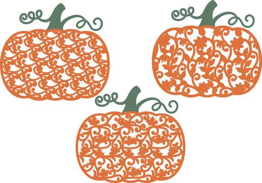 Patterned Pumpkins Lace Pumpkin Thanksgiving Day Halloween