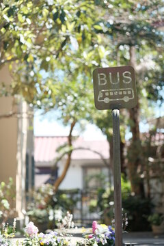 bus stop sigh on the street