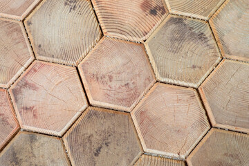 Beige background of wooden hexagons. Paving slabs made of wood. Tiles made of wood fragments. Paths made of natural wood. Materials for garden design. Landscape design.