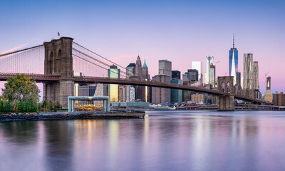 New York City skyline with Brooklyn Bridge in winter