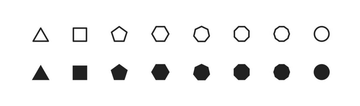Basic geometric shape, simple icon set. Octagon, hexagon, pentagon, decagon, triagle symbol in vector flat