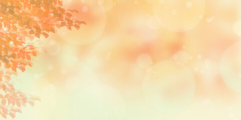 紅葉する木々と夕日_秋のイメージの背景素材