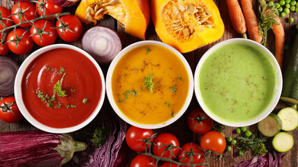 bowl of vegetable cream soup- tomato soup, pumkin or carrot soup, zucchini or spinach soup collection