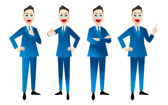 ビジネスマン 全身ポーズ 4パターン