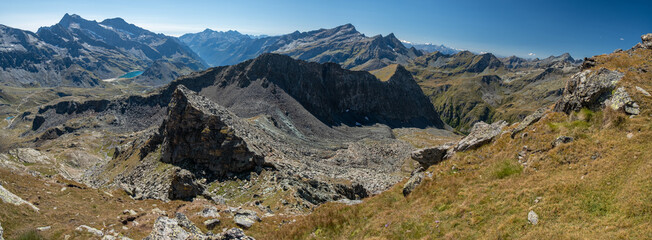Panoramic view of an alpine landscape on the slopes of Monte Rosa, in the upper Val de Gressoney.