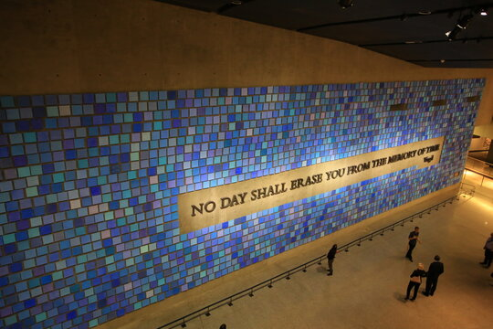 NEW YORK OCT 3 2016: 911 memorial museum outlook  in New York . it commemorate the September 11, 2001 attacks, which killed 2,977 victims,