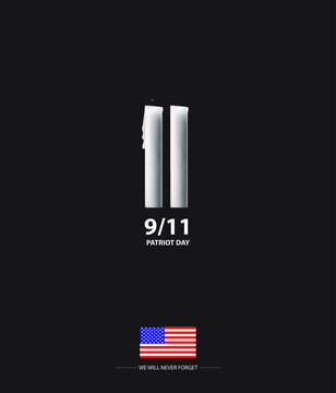 New York, USA - September 3, 2020: 9/11 Patriot Day banner. USA Patriot Day card. We will never forget you. Vector design template for Patriot Day.
