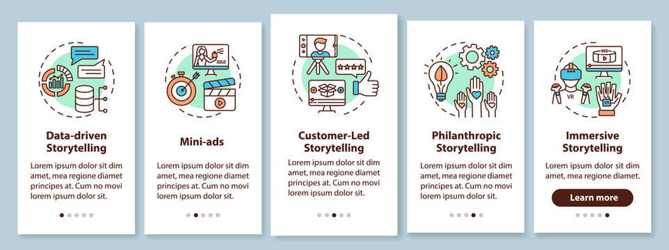 Storytelling marketing onboarding mobile app page screen with concepts. Data-driven, customer-led approaches walkthrough 5 steps graphic instructions. UI vector template with RGB color illustrations