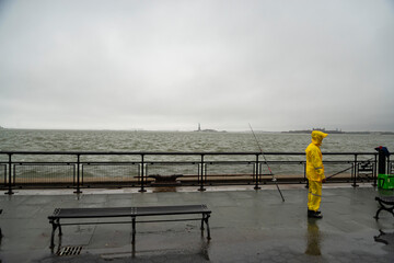 fisherman at the Battery Park in New York City, USA