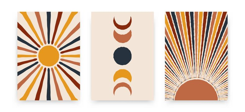 Abstract sun moon posters. Contemporary backgrounds, set of covers modern boho style. Mid century wall decor, vector art print