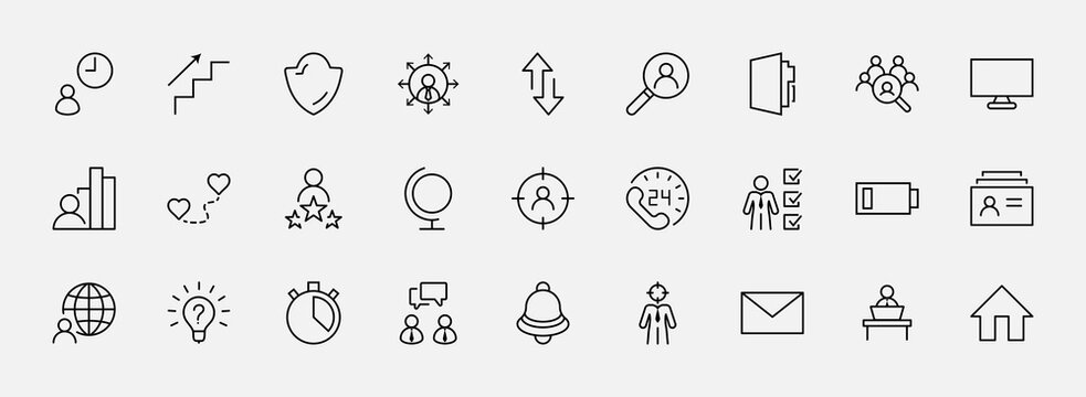 Set of Head Hunting Related Vector Line Icons. Contains such Icons as Career growth, Bulb, Candidate, Search, CV, Card Index, Outsource and more. Editable Stroke. 32x32 Pixels
