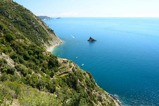 Coastline in National park of Cinque Terre. La Spezia province. Liguria. Italy