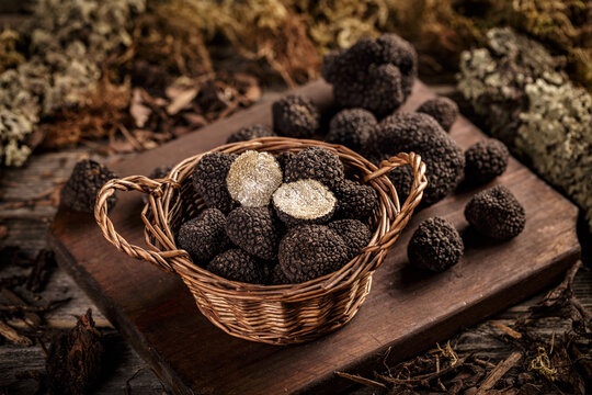 Expensive black truffles gourmet mushrooms