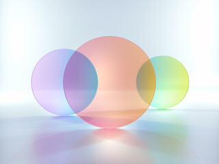 3d rendering, abstract modern minimal background with colorful translucent round glass shapes, simple geometric shapes