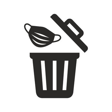 Used face mask icon. Put it in the bin. Don't drop it, just bin it. Vector icon isolated on white background.