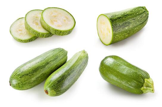 Zucchini isolated. Zucchini on white background. Whole, cut, slice zuchini. Marrow squash set.