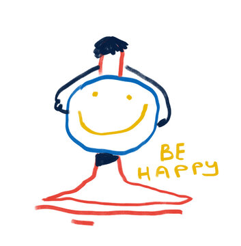 Be Happy. Painting, Modern Abstract Sarcastic cartoon childlike illustration. Cartoon Painting with Primary Color. Contemporary art for Print and Poster