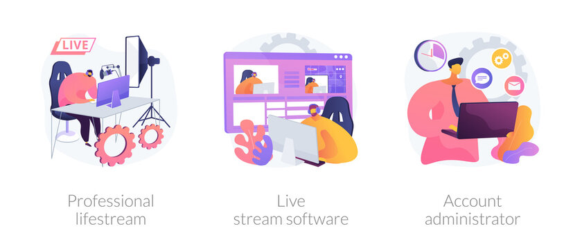 Broadcasting service abstract concept vector illustration set. Professional livestream software, account administrator job, online event stream manager, production monetization abstract metaphor.