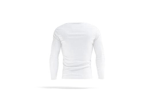 Blank white longsleeve t-shirt mock up, back view