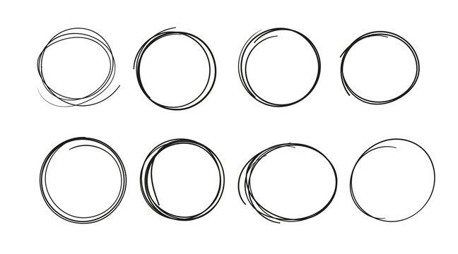 Circles hand drawn vector illustration