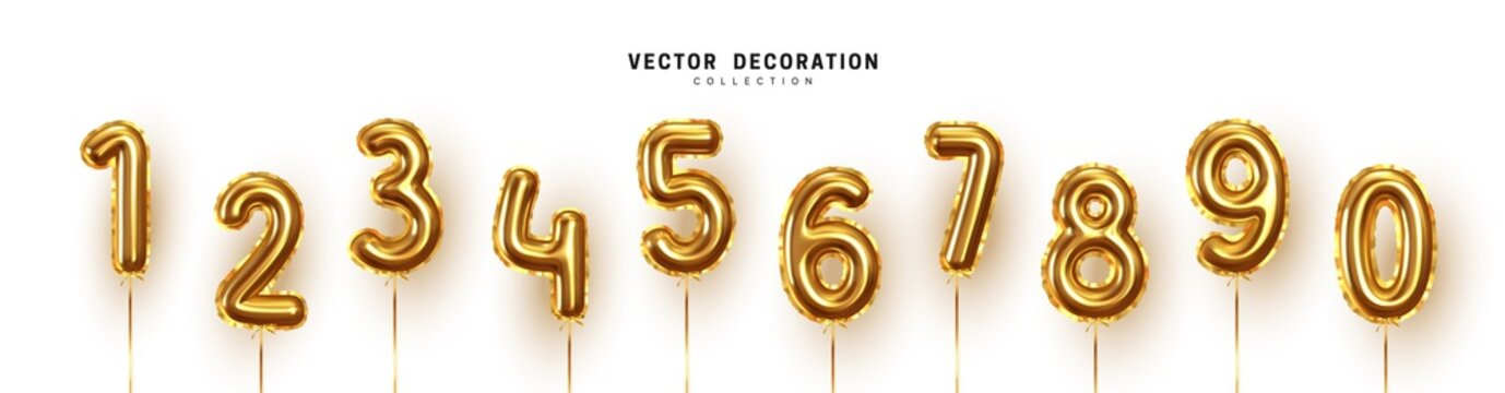Golden Number Balloons 0 to 9. Foil and latex balloons. Helium ballons. Party, birthday, celebrate anniversary and wedding. Realistic design elements. Festive set isolated. vector illustration.