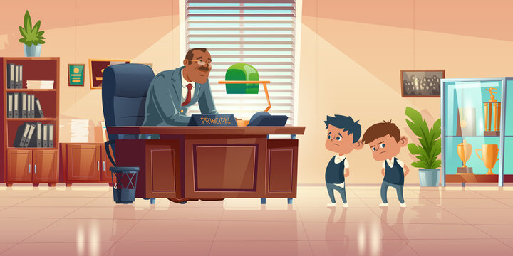 Teacher meeting with kids in principals office. Vector cartoon illustration of kind man school headmaster talk with two guilty boys. Administration cabinet with director and students