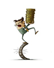 man holding a stack of coins is balancing on the word economy which is going to break. isolated