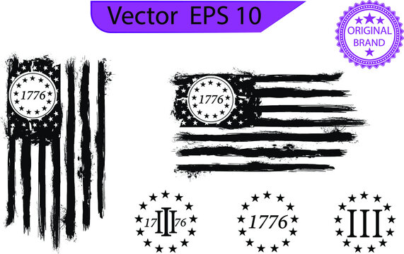 Betsy Ross 1776 13 Stars Distressed US Flag
