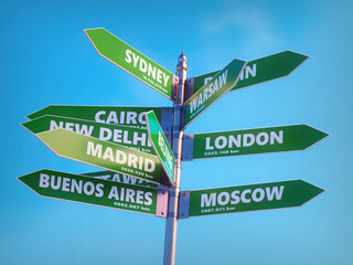 Multidirectional roadsign showing major world capitals directions