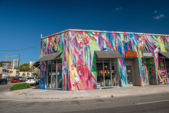 MIAMI, FL - MARCH 29, 2018: Wynwood Walls Miami graffiti. Wynwood is a neighborhood in Miami well known for its graffiti and street art