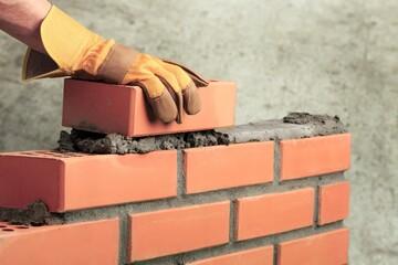 Bricklayer build cement masonry layer