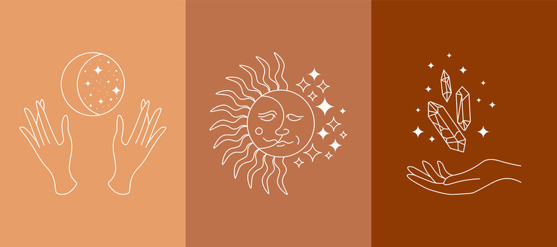 Boho mystic doodle esoteric set. Magic simple line logo icons with hands, crystal, sun, new moon stars. Bohemian modern vector illustration