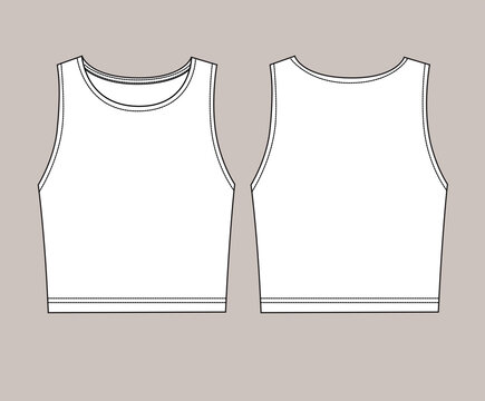 Vector technical sketch of crop top t shirt in white color. Back and front part.