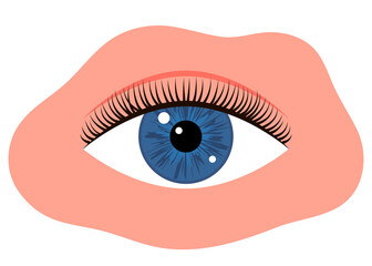 Eye with black long eyelashes. Woman makeup. Editable line. Vector illustration