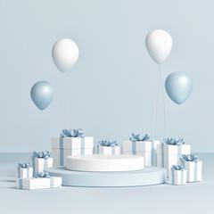 Abstract celebration platform for product presentation, 3d render, 3d illustration
