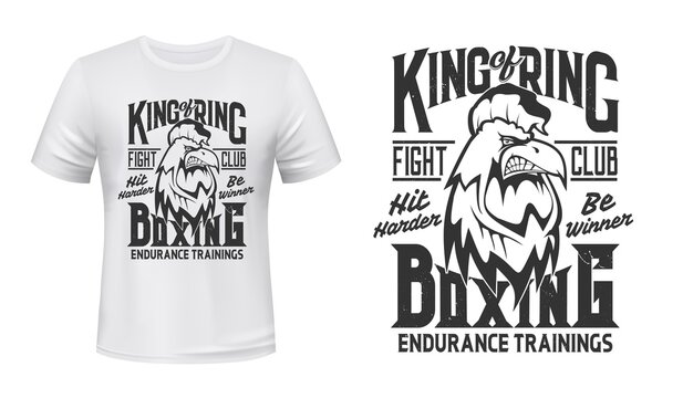 Rooster print t-shirt mockup, boxing fight club vector emblem. Angry rooster cock mascot box or kickboxing fighting club with Hit Harder and Be Winner slogan for t shirt print