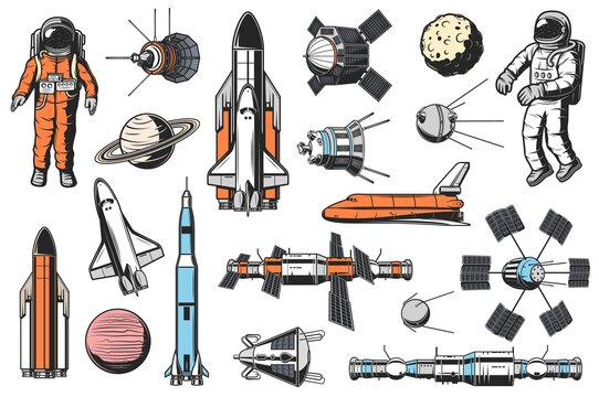 Space and astronomy icons vector set. Astronaut in spacesuit, space shuttle carrier and orbiter, artificial satellites and spaceships, orbital space station and solar system planet retro illustrations