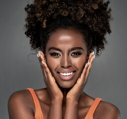 Beauty portrait of smiling afro woman.