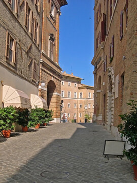 Italy, Marche, Macerata, downtown medieval street.