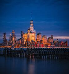 new york city skyline night  beautiful buildings usa
