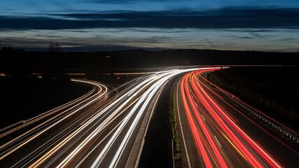 Autobahn with dramtic sky at Night