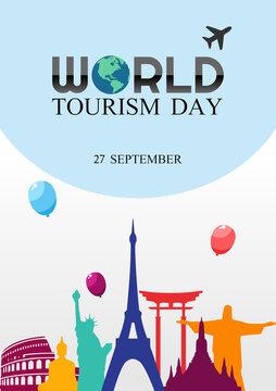 Vector graphic of world tourism day good for world tourism day celebration. flat design. flyer design.flat illustration.