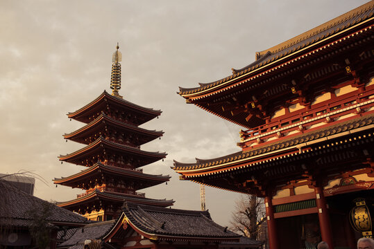 Asakusa, Tokyo / Japan - December 23, 2015: Senso-ji temple bathed in a warm sunset light with soft clouds in the background