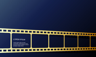 Vector illustration of gold color film roll. Perfect to use for the background of a new movie video promotion premiere. Elegant film roll frame blank template.