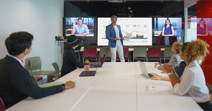 diversity business people having video conference in meeting room