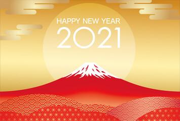 2021年 富士山の年賀状テンプレート